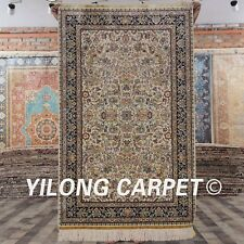 YILONG 3'x5' Handknotted Oriental Silk Carpet All-over Antistatic Area Rug L106A