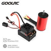 GoolRC 3660 3300KV Brushless Motor w/ 60A ESC 6V/3A BEC for 1/10 RC Car New H2J5