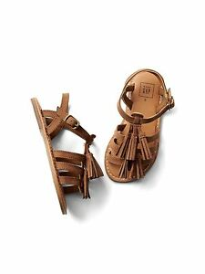 GAP Baby / Toddler Girls Size 10 US / 27 EU Brown Tassel Gladiator Sandals Shoes