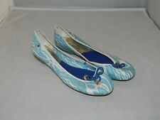 Tommy Hilfiger Womens Blue Fabric Nautical Ballet Flats Size 10