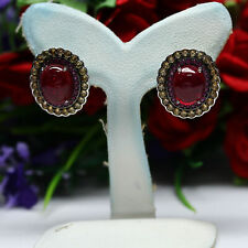 NATURAL 7 X 9mm.  RED RUBY & PINK WITH YELLOW SAPPHIRE EARRINGS 925 SILVER