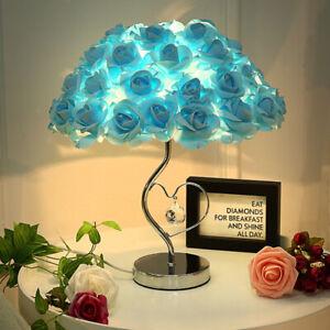 Large Light Blue Rose Lamp Table Bedside Heart Crystal Romantic Wedding Gift