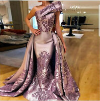 Satin Mermaid Gorgeous Appliques Prom Evening Dress Celebrity Party Pageant Gown