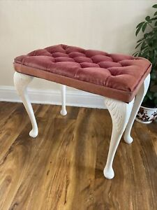 Vintage Retro Dressing Table Pink Velvet  Vanity Bedroom Stool
