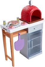 Barbie Set di mobili da esterno in mattoni da forno per pizza NUOVO