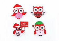 Christmas Owl Wooden Button Red X'mas Holidays Children Decorative Wood 20pcs