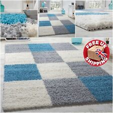 Modern Rugs High Pile Shaggy Rugs Stylish Teal Blue Grey Silver Lounge Mats New