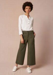 ME+EM Wide Crop Leg Trousers Khaki Green UK 14 NEW