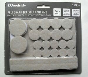 Felt Pads furniture leg self adhesive 5mm floor protectors pack 27 assorted