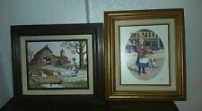 Framed C. Carson Oil Paintings Serigraphs Flower Girl w/ Puppy, Girl w/ Ducks