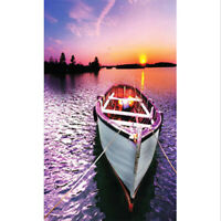 """Full Drill 5D Painting """"Boat On Lake In Sunset """"Cross Stitch Wall Decor D"""