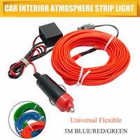 4M Interior Coche Decorativo Óptico Fibra Luz Salpicadero Recortar 12V Tira LED
