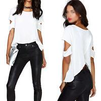 Fashion Sexy Women's Loose Chiffon T Shirt Tops Short Sleeve Dress Casual Blouse