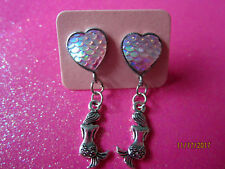 Pink Heart With Mermaid Dangle Earrings