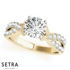 INFINITY OPEN SPLIT SHANK  DIAMOND ENGAGEMENT RING 14 GOLD
