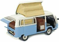SCHUCO 00435 VW T2A CAMPER VAN diecast model blue and white opening doors 1:18th