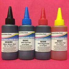 4X100ML REFILL INK BOTTLES FOR EPSON ECO TANK ET 14000 16500 2600 4550 7700 7750