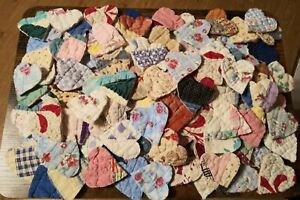 Old antique vintage cutter  quilt hearts 100 total !!