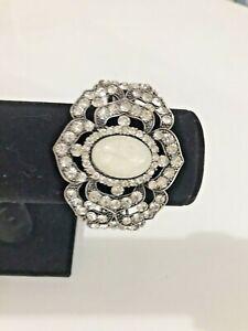 Silver Tone Diamante Hinged Cuff Statement Bracelet Art Deco Style Chunky Bangle