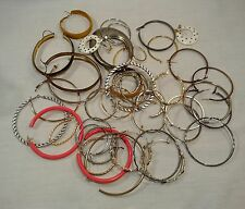 Lot of 42 Hoop Earrings Silvertone Goldtone Plastic 80s 90s Vtg Unmarked