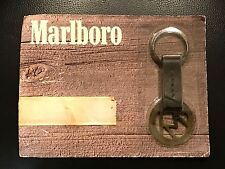 VINTAGE THE MARLBORO BRAND RAFTER M SOLID BRASS AND LEATHER KEYCHAIN 1989