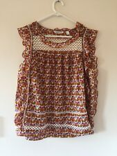 Womens Country Road 100% Cotton Sleeveless Lace Panel Ruffle Top Blouse size S