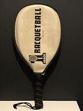 Leach Racqueball Racque, Graphite Bandido, Black With Orange Accents