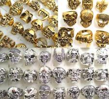 30 Herren groß Schädel Ring Gold Silber Gothic Biker Skelett Punk Ringe TOP MIX