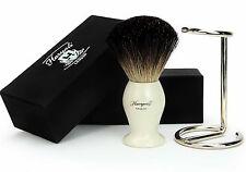Shaving Brush & Stainless Steel Stand Pure Black Badger Bristles & Resin Handle