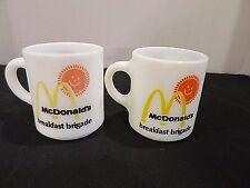 McDonalds Breakfast Brigade Lot of 2 Coffee Mugs Milk Glass Vintage
