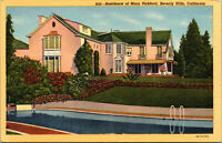 Vtg 1930's Residence Mary Pickford Actress Beverly Hills California CA Postcard
