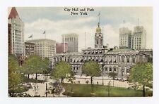 City Hall and Park, New York City, NY Color Postcard