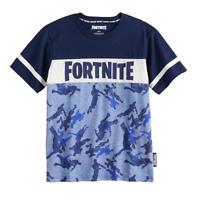 LICENSED Boy's FORTNITE Blue Navy CAMO Emote LOGO Short Sleeve T-Shirt
