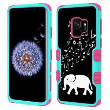 3-Layer Phone Case (Teal/Pink) for Samsung Galaxy S9 - Elephant Music