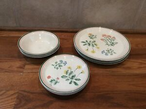 Lot Of Arklow Honey Stone Prairie Flowers 8140 Dinner Plates Salad Bowls Ireland
