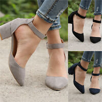 Womens Closed Toe Ankle Strap Sandals Ladies Low Mid Block Heel Party Shoes Size
