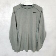 Nike Pro Combat Men's XL Gray Dri-Fit Long Sleeve Fitted Athletic Fighting Shirt