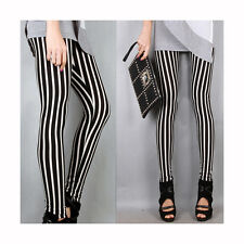 One Size Long Vertical Black White Stripe Tights Trousers For Womens LW