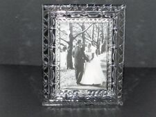 """Vintage Free Standing Clear CRYSTAL Lead Glass Photo PICTURE FRAME 5"""" x 3.5"""""""