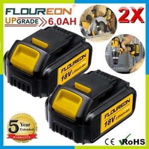 2x FLOUREON 18V6Ah Li-ion Battery For DeWalt DCB183 DCB184 DCB185 DCB186 DCB187