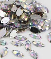 50 x Clear Sew on Acrylic Tear Drop Diamante Crystal Gems Rhinestone 7x15mm #1
