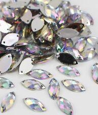 50 x Clear Sew on Acrylic Tear Drop Diamante Crystal Gems Rhinestone 7x15mm