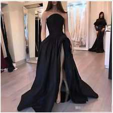 Black Sexy Backless Evening Dresses  High Front Split Long Formal Prom Gowns