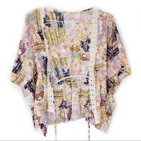 Liberty Love Cardigan M Floral Lace Mini Kimono Wrap Tie Womens Size Medium