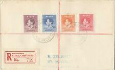 Stamps Nauru 1937 Coronation set 4 on plain cover sent registered to Mt Waverley