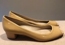 Ellen Tracy 'Abby' Peep Toe Mini Pumps Nude/Beige 7.5M Patent Leather Great!!