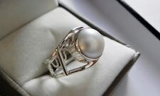 Gorgeous! 925 stamped sterling silver mabe pearl solitaire ring size Q (US 8)