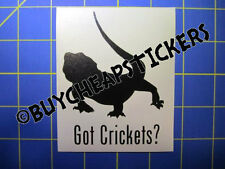 Bearded Dragon Got Crickets? Vinyl Decal - Sticker 3x4 - Any Color