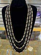 Indian/Pakistani Black Glass Beads And White Stones Necklace Only