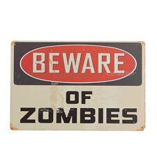 BEWARE OF ZOMBIES Tin Metal Walking Dead Wall Door Plaque Sign 20x30cm UK Stock